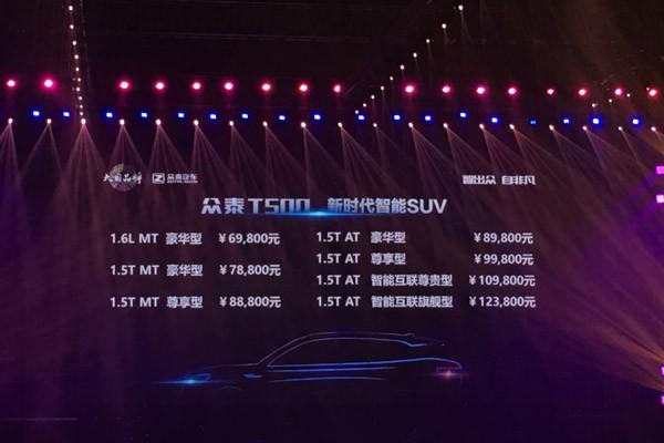 售6.98万-12.38万元 众泰T500正式上市