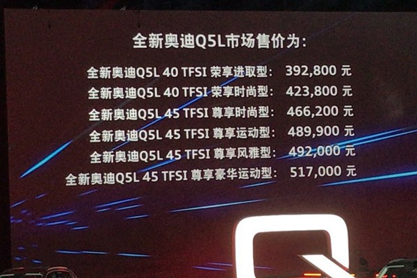 一汽奥迪Q5L正式上市 售39.28-51.70万