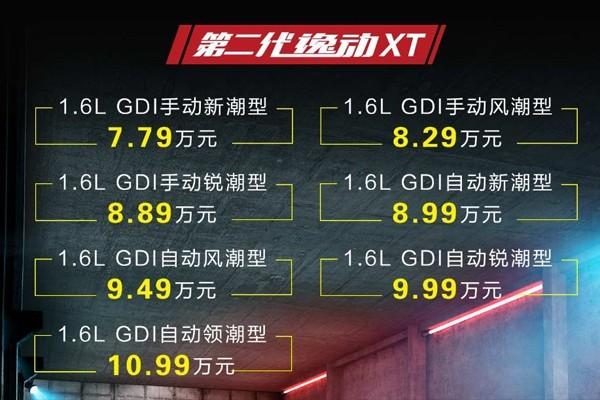 新逸动XT将8月29日上市 预售7.79万起