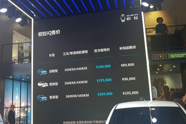 2018成都车展:欧拉iQ补贴后售8.98万起