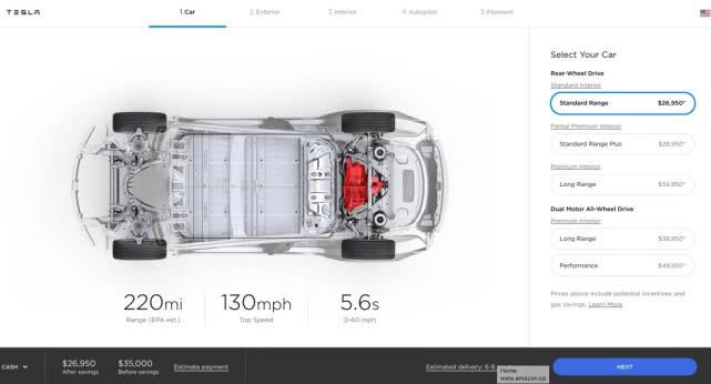 特斯拉中止销售Model 3中程版电池组