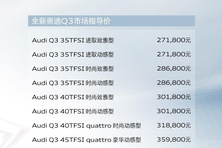 2019上海车展:全新奥迪Q3售27.18万起