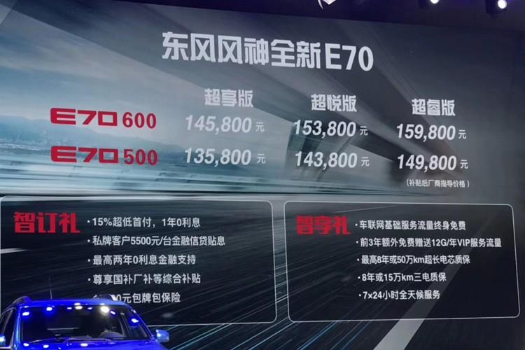 成都车展:新款风神E70补贴后13.58万起