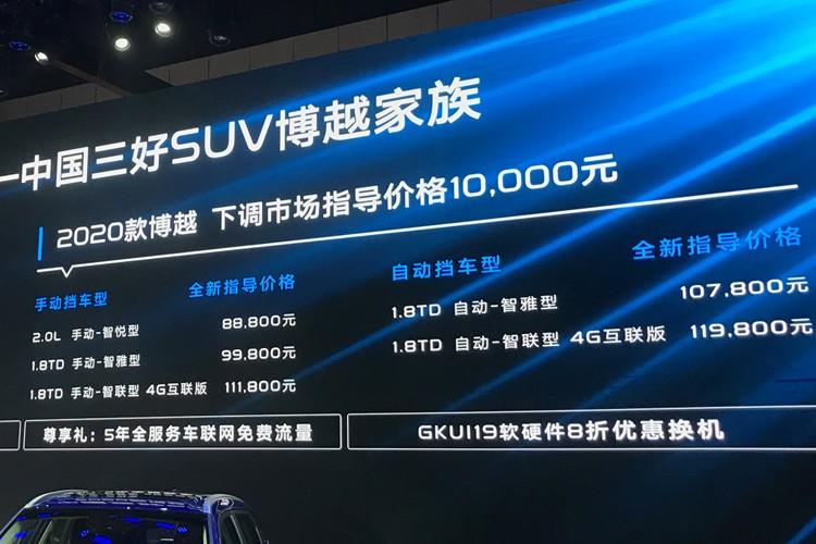 2019成都车展:2020款博越售8.88万元起
