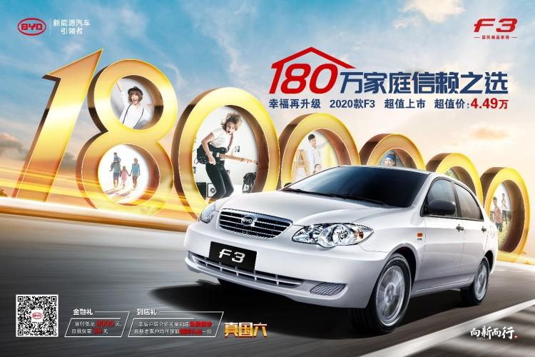 售4.49万 2020款比亚迪F3国六版车型上市