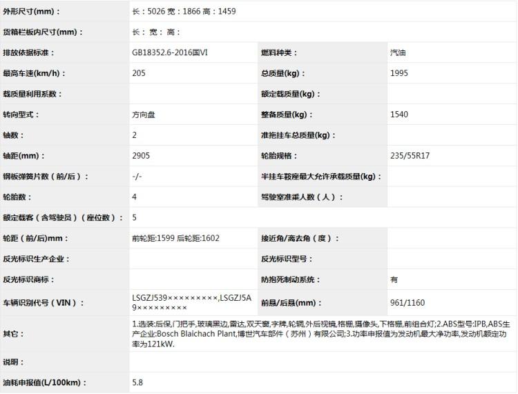 新增1.3T三缸版 新款别克君越申报信息【图】