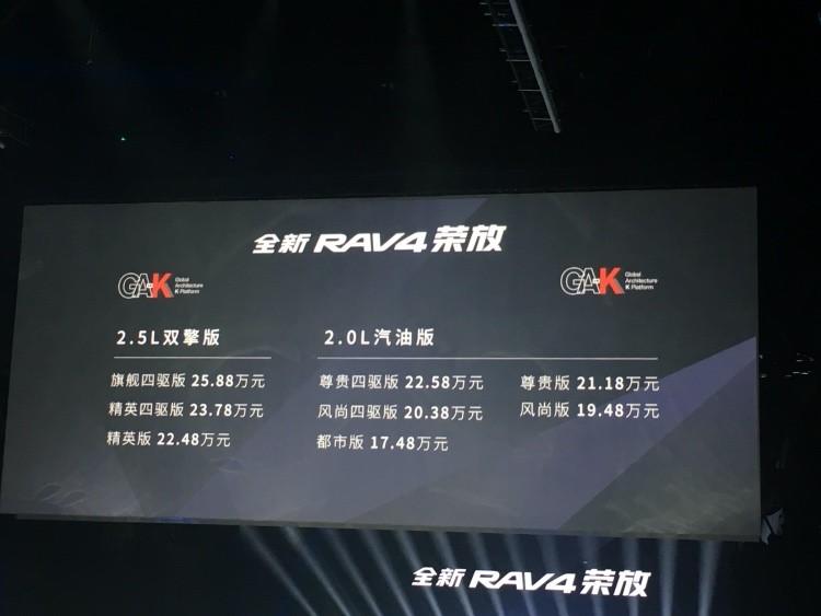 配置硬核,全新RAV4荣放正式上市,17.48万元起售