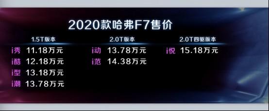 2020款哈弗F7 11月16日新庄震撼上市