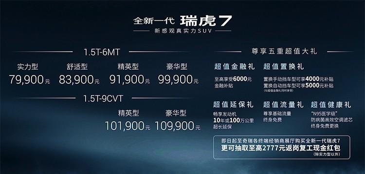 7.99万起 全新一代瑞虎7/瑞虎7 PRO上市