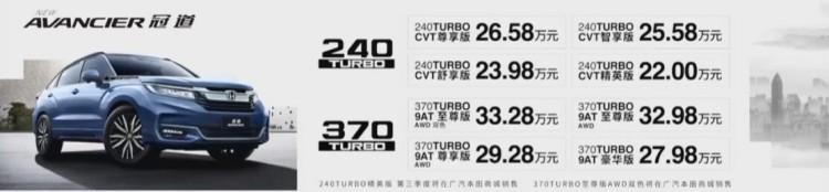 售22.00-33.28万元 广汽本田新款冠道上市