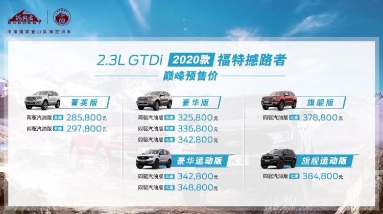 换装2.3T+10AT 2020款福特撼路者预售28.58万元起