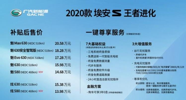 续航升级 广汽新能源新款埃安S售13.98万起
