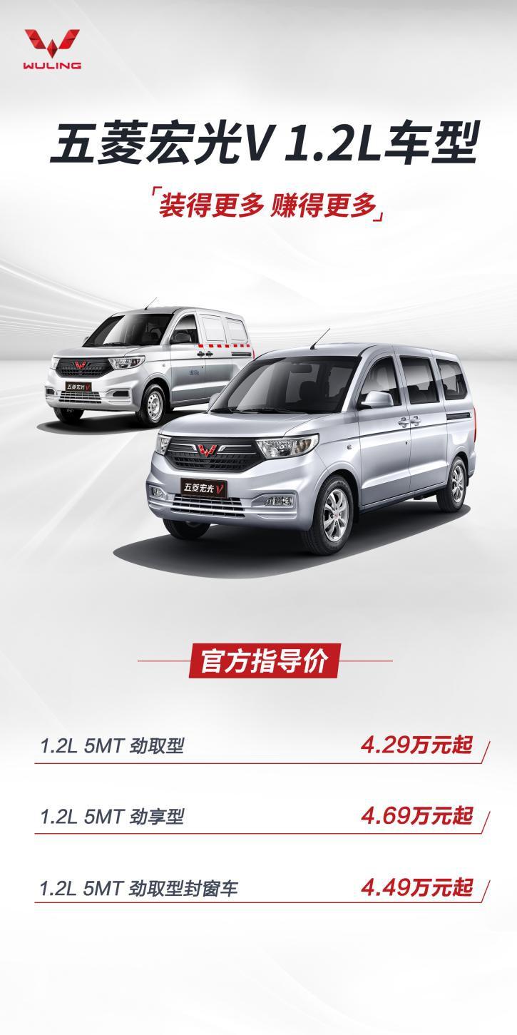 拉低价格门槛 五菱宏光V 1.2L车型售4.29万起
