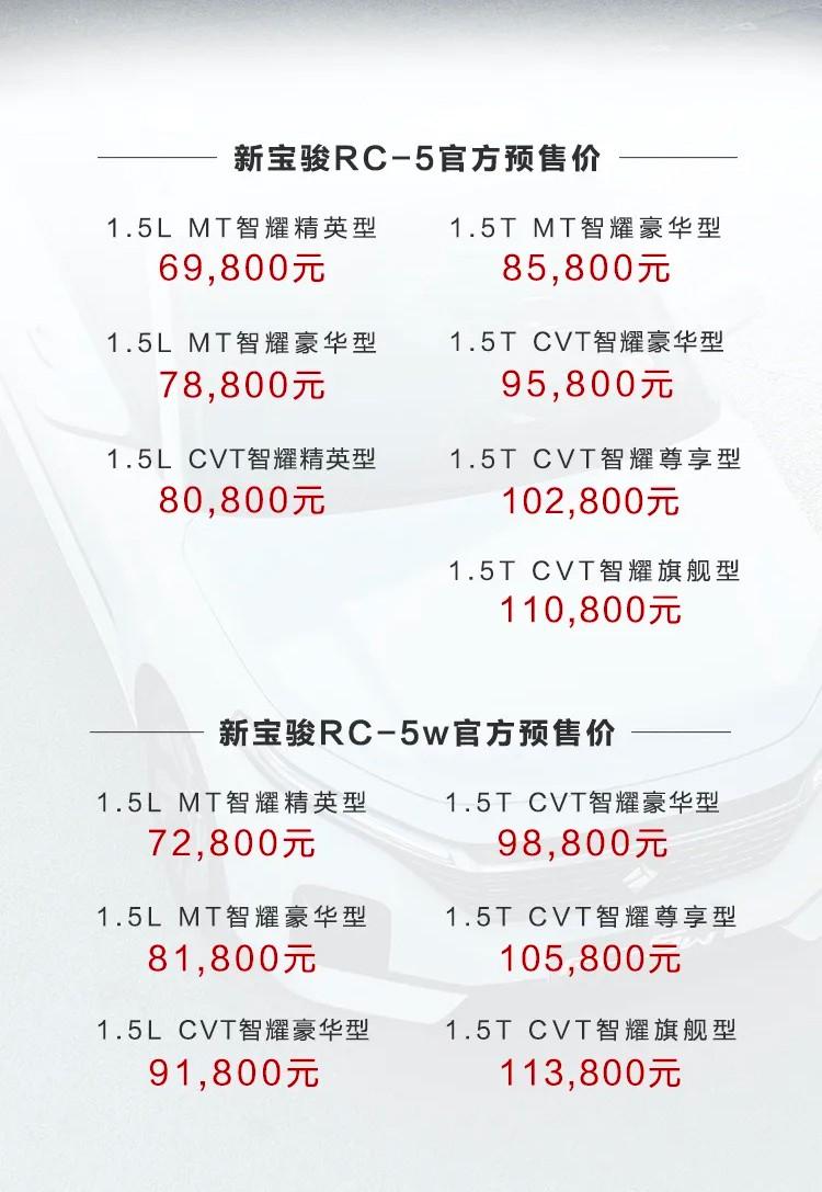三厢版+旅行版 新宝骏RC-5预售6.98万起
