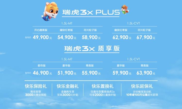 诚意满满 瑞虎3x PLUS售4.99万元起