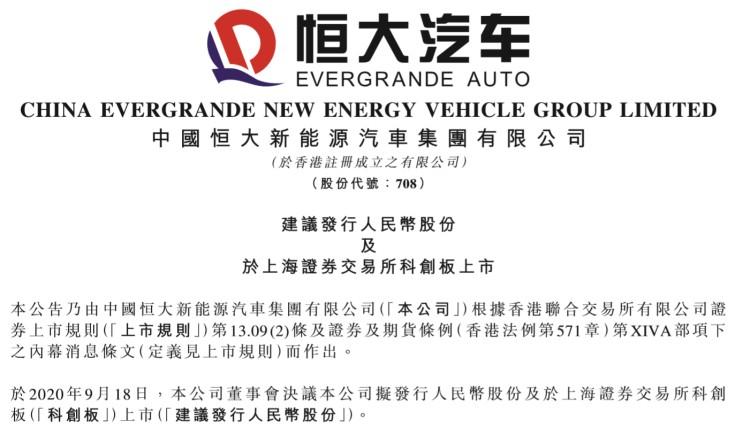 恒大汽车拟在上海证券交易所科创板上市