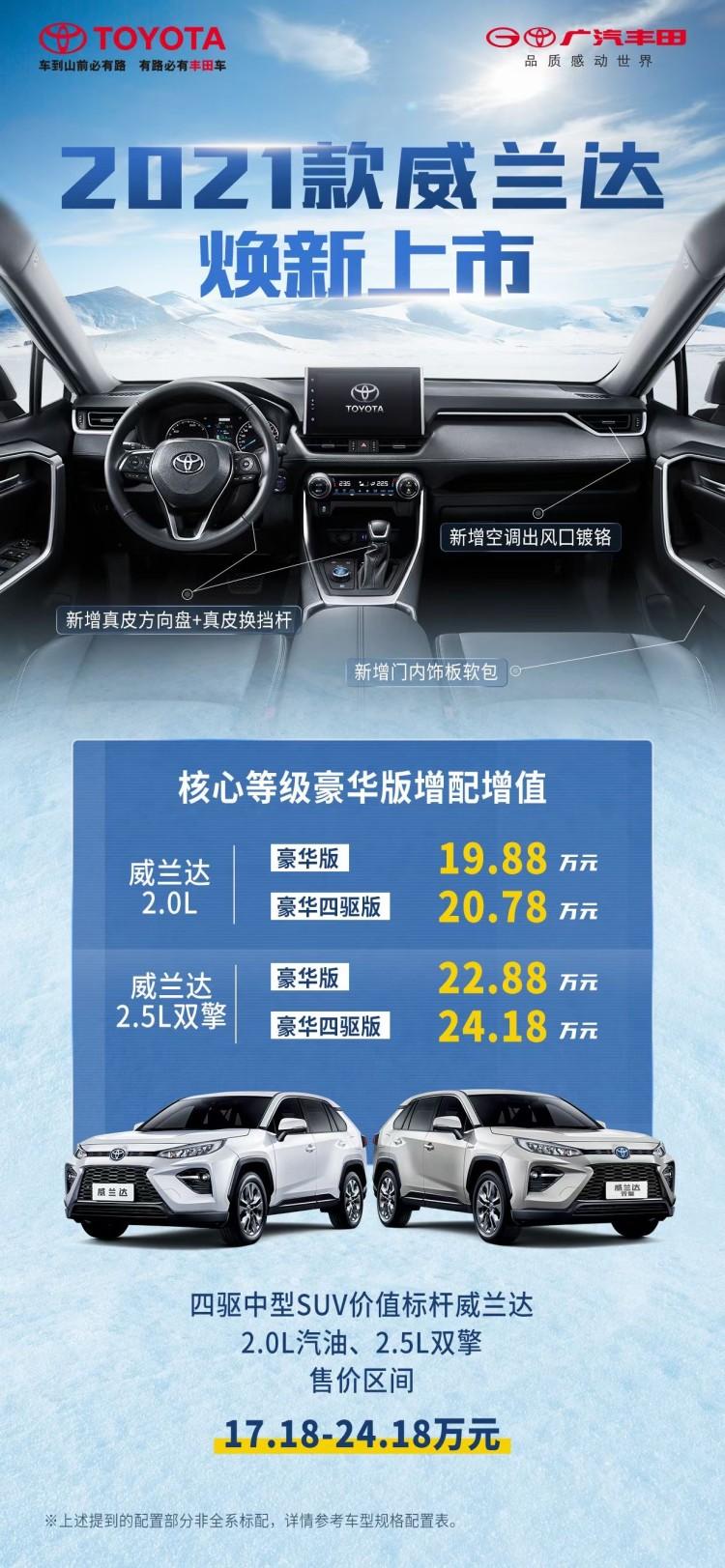 部分车型配置升级 广汽丰田威兰达售19.88万起
