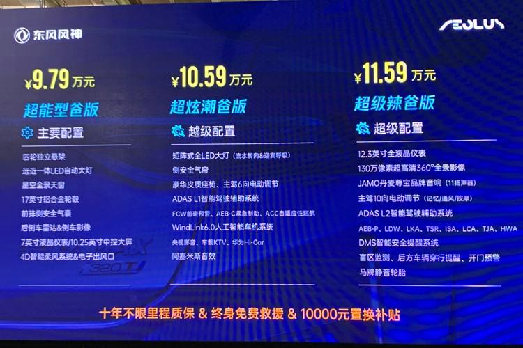 预售价9.79万起 东风风神奕炫MAX下线