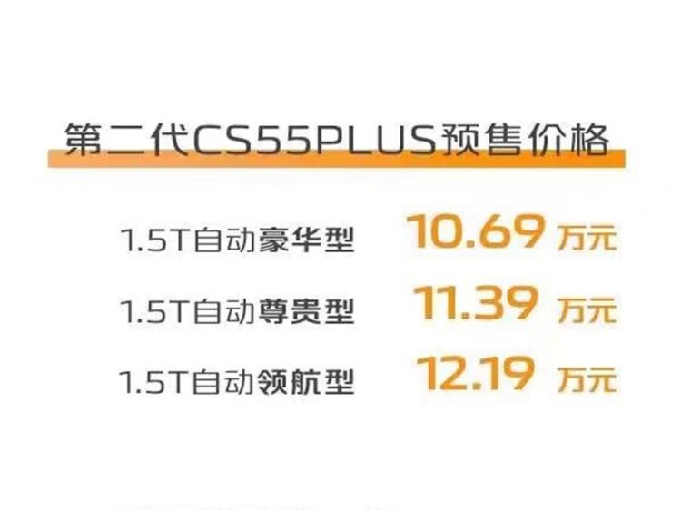 智慧出行好伙伴 第二代长安CS55PLUS预售10.69万起