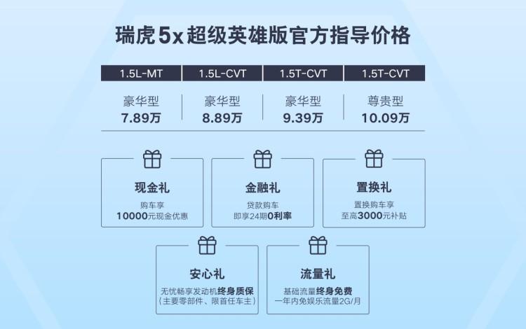 售7.89-10.09万元 瑞虎5x超级英雄版上市
