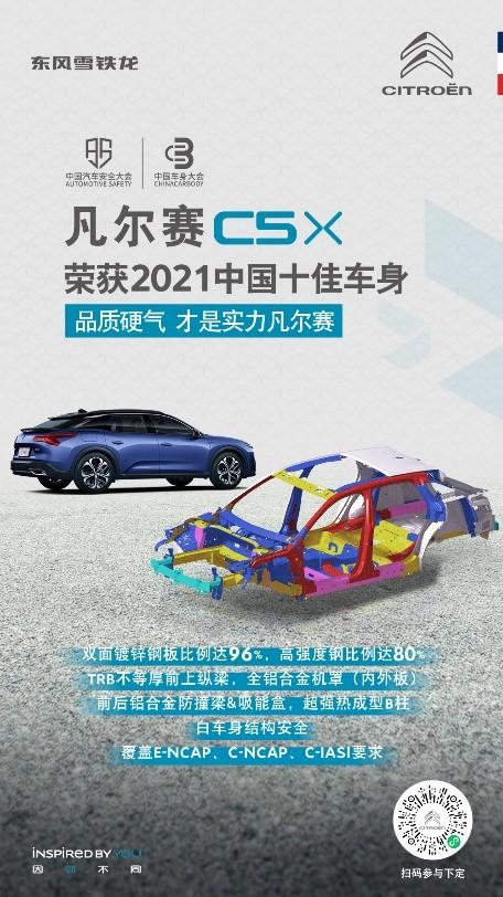 """荣获""""2021中国十佳车身""""  东风雪铁龙凡尔赛C5 X匠心铸硬核车身 安全长相伴"""