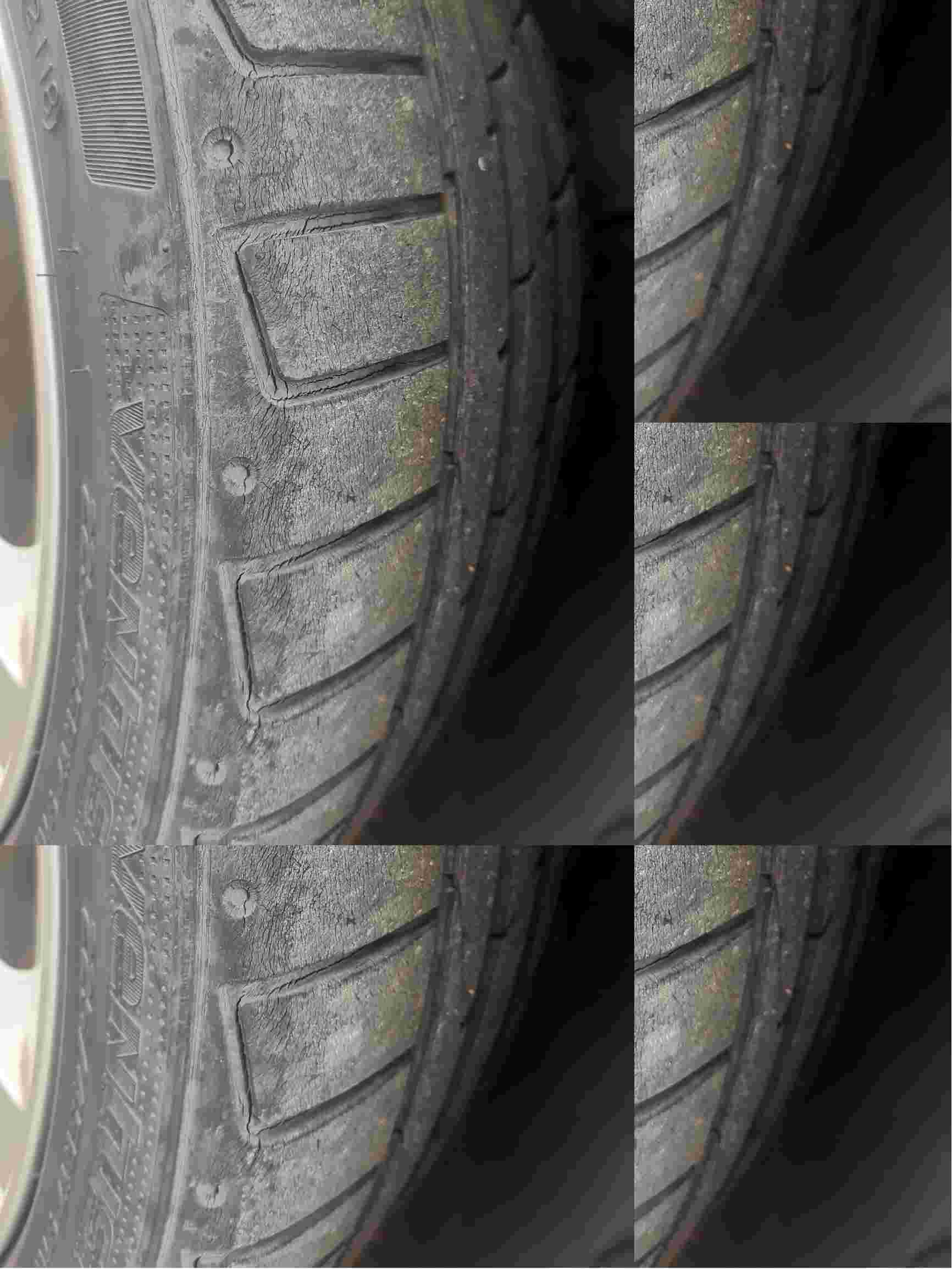 轮胎老化开裂十分严重
